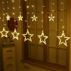 Twinkle LED String Multi Color Christmas Decoration Iclicle Star Curtain Wall Light
