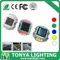 traffic warning CE and RoHS 3*2 leds flashing/ steady work mode solar powered road reflectors