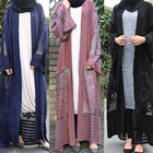 new design fashion excellent quality long open abaya EID embroidery and mesh muslim women abaya