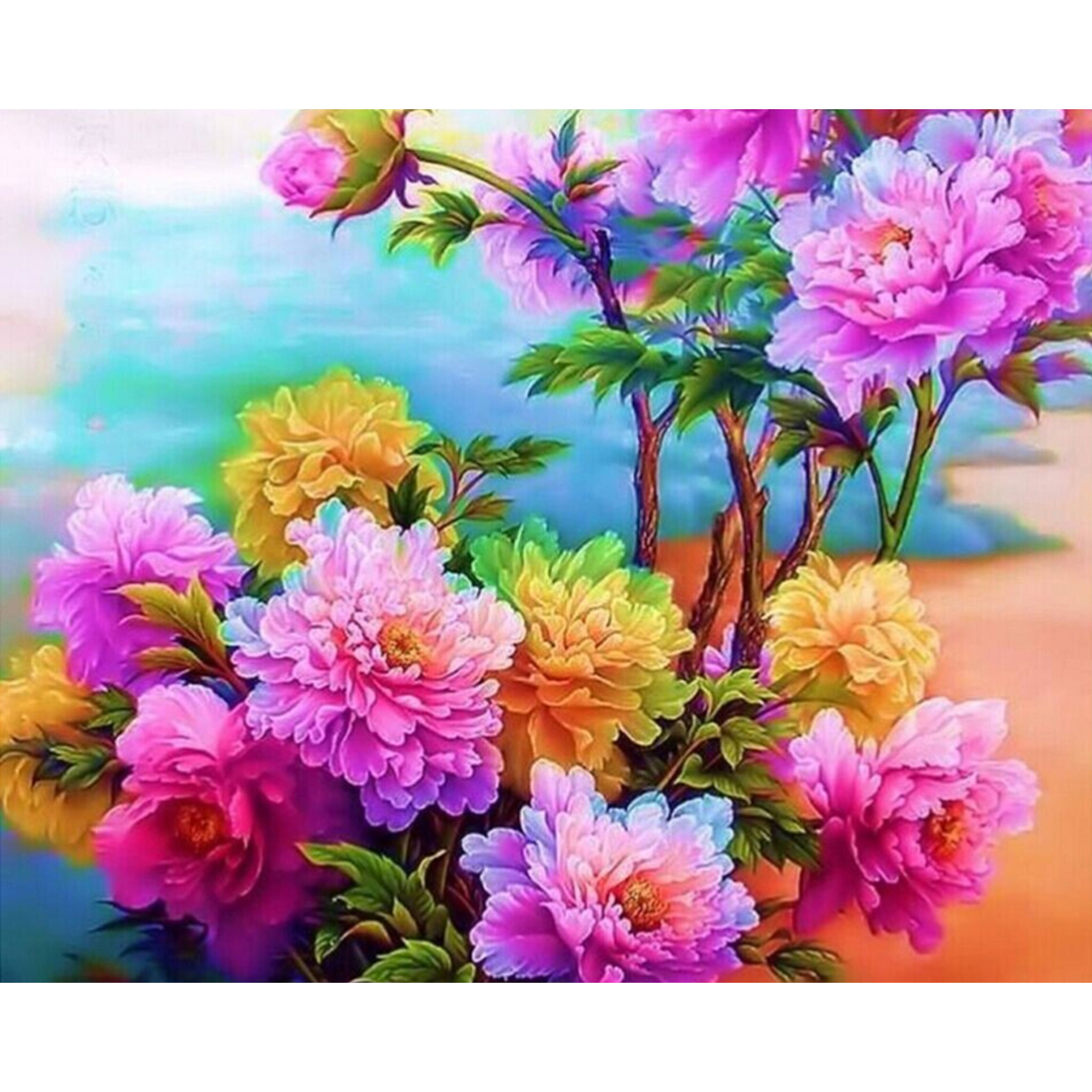 Western Style home decor 5D square Diy Diamond Painting Embroidery The beautiful Peony living sticker 50X40CM HZW-596
