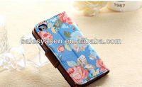 Hot selling credit card slot wallet leather case for iphone 5 with flower cloth material