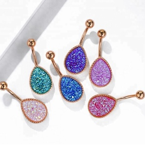 Rose Gold Plated Treadrop Faux Druzy Belly Button Ring 14G Indian Navel Piercing