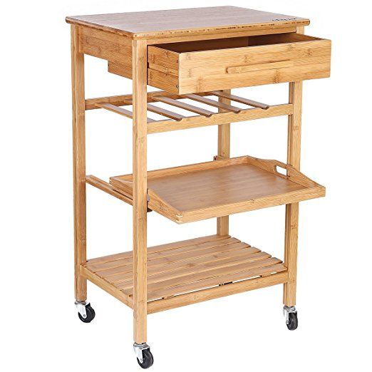 New Products Bamboo Wooden Kitchen Furniture Serving Storage Trolley Cart With Wheels