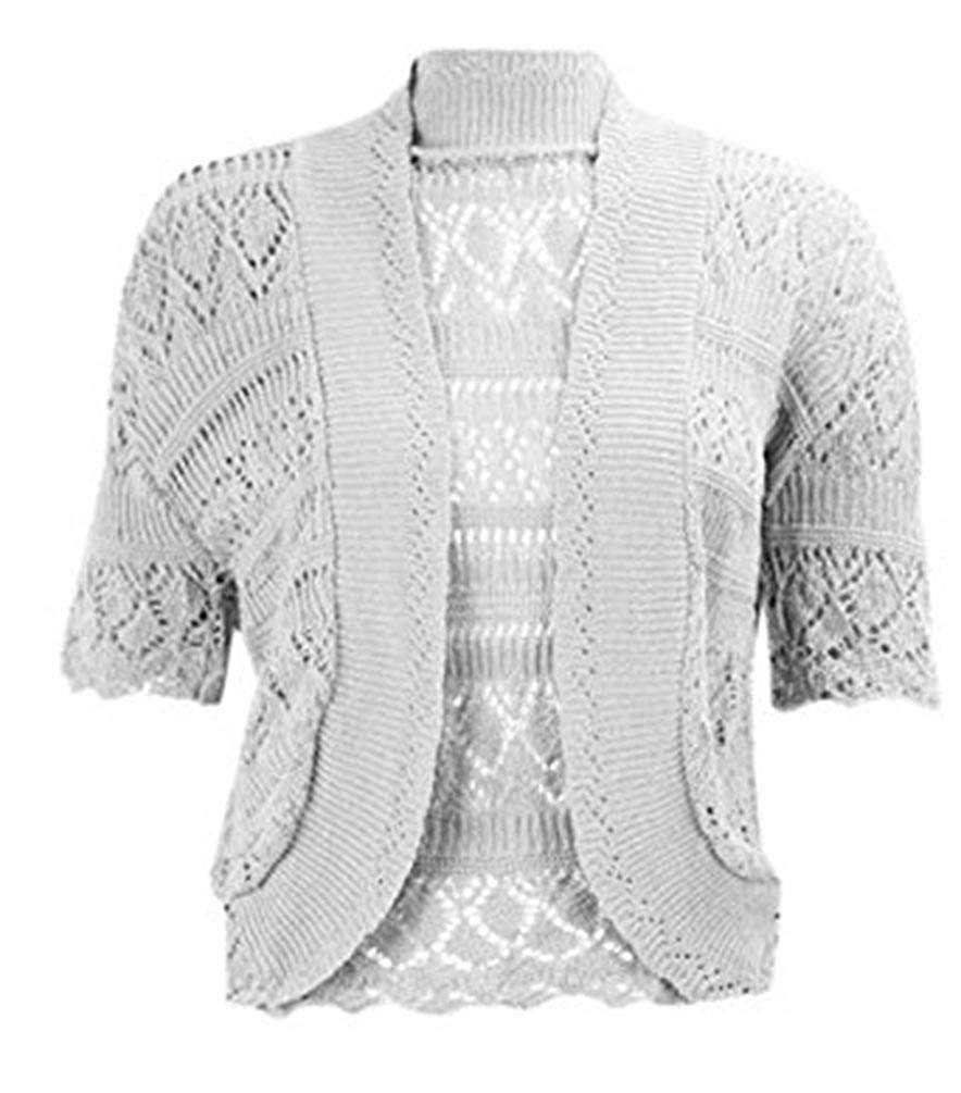687e185ce3 Get Quotations · REAL LIFE FASHION LTD Womens Crochet Open Front Bolero  Knitted Shrug Ladies Short Sleeve Cardigan Top