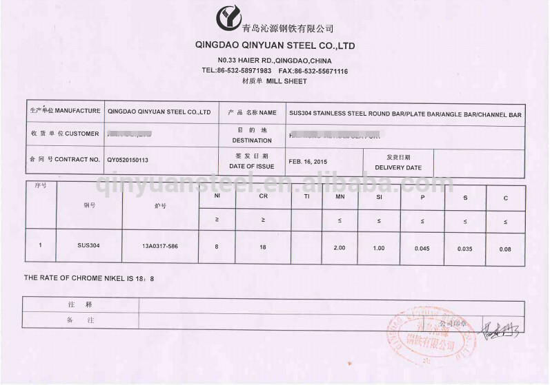 Mill Test Certificate Sus304 Stainless Steel Flat Bar Buy Mill