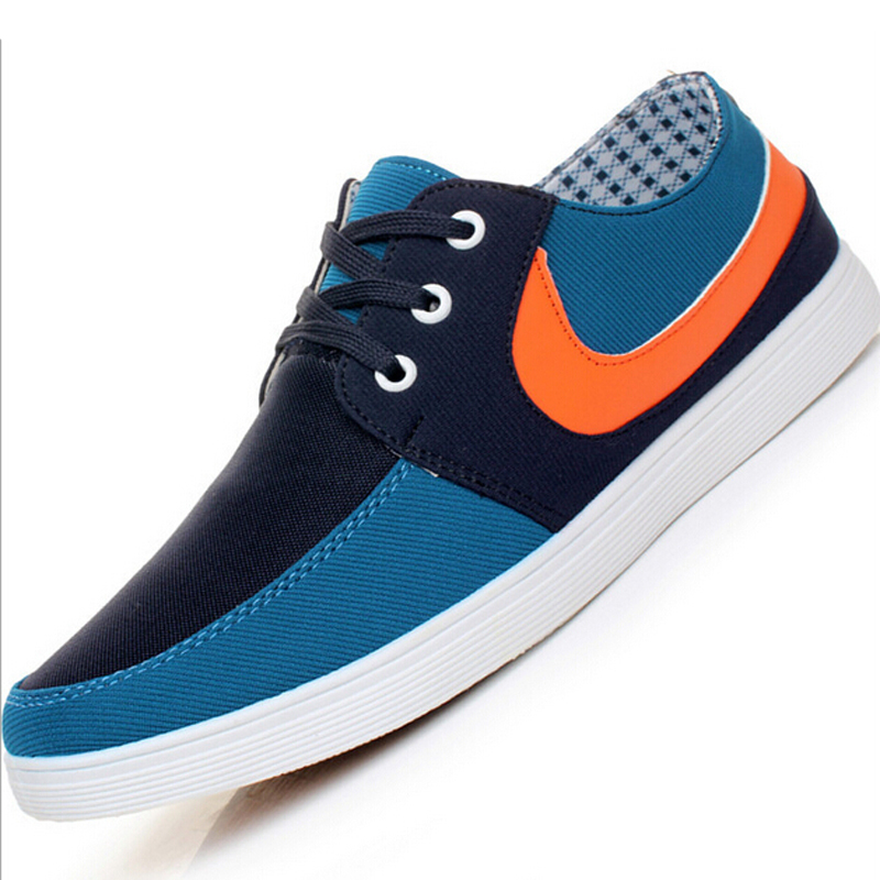 Free shipping 2015 spring and autumn canvas shoes lace-up flat leisure Fashion shoes Flat with men's shoes