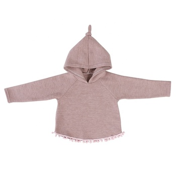 Latst Pink Knotted Hat Knit Girl Kids Clothing Baby Clothes Hoodie Pullover