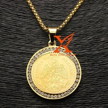 18K Gold Plated Reverse Side Ice Out Round 50 Pesos Coin Holder Pendant