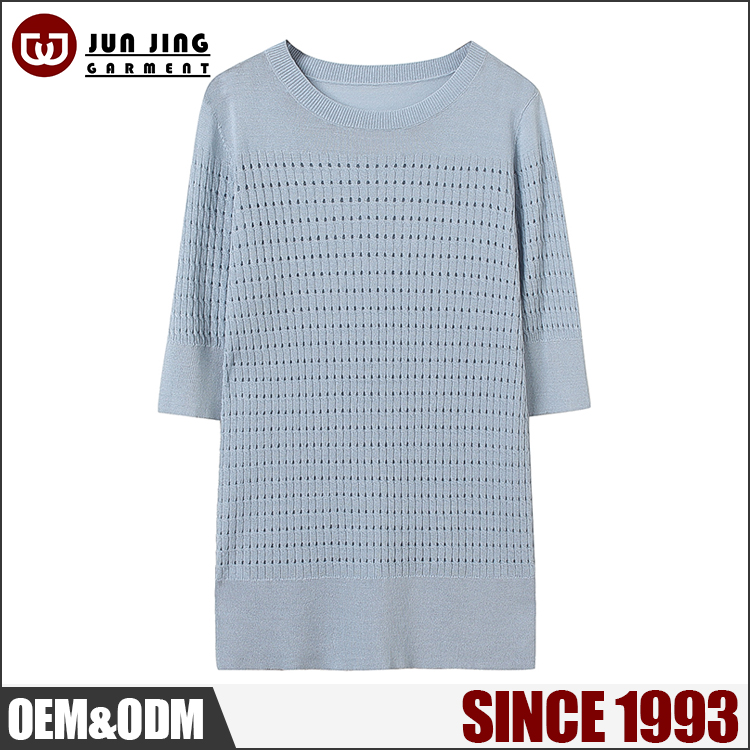 OEM Factory Price Fashion Clothing spring half sleeve 1/30 80%Viscose 20%Nylon long sweater women