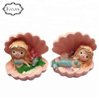 Bookshelves display handicraft resin fairy garden and glass jar Mermaid shell statues
