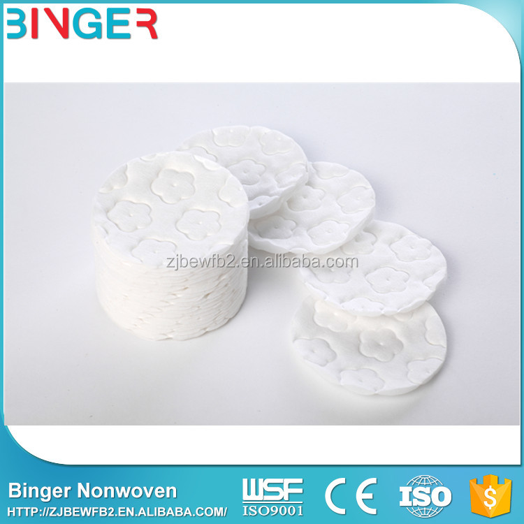 100% cotton make up remover face cleaning cotton pads with embossed
