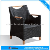 F-27002AC solid wooden+ rattan furniture dining chair with armrest