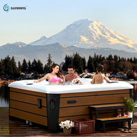 Sunrans 5 people balboa system Acrylic outdoor massage hot tub spa with 61 pcs water massage jets