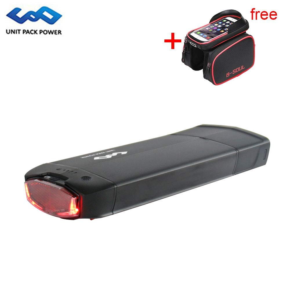 UnitPackPower 36V 13AH Lithium ion E-Bike Battery Made of 18650 Cells + Tail Light + Power Level Display, fits 36V 500W E-Bike Motor/Mountain Bike/Road Bike/Cyclocross Bike/Scooter