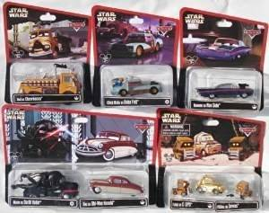 Disney Cars 1:55 Scale Diecast Star Wars Series 1 & 2, complete set of 15 cars (11 packages including 3 multi-packs) Mater as Darth Vader, Doc as Obi-Wan Kenobi, Luigi as C-3PO and 2 Pitties as Jawas, Ramone as Han Solo, Chick Hicks as Boba Fett, Red as Chewbacca, Lightning McQueen as Luke