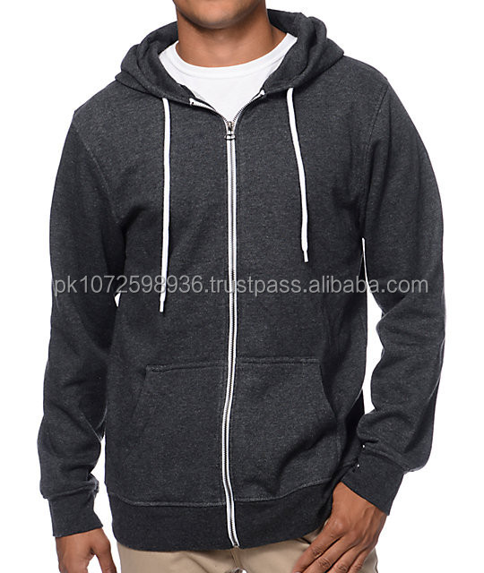 Plain Heather Black Zip-Up Hoodie/Men's Blank Long Sleeve Zipper Hoodie