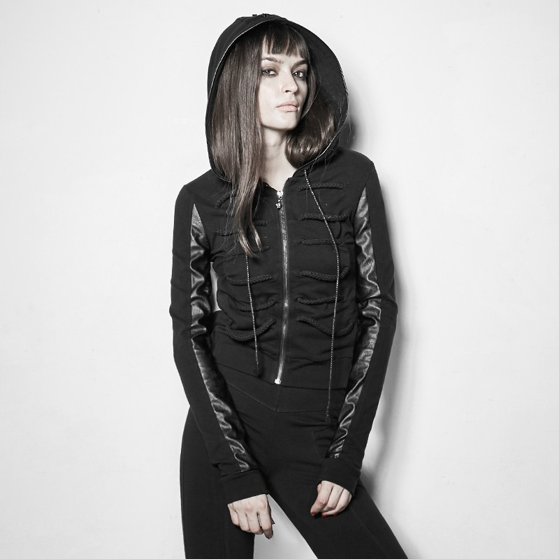 "PY-194 ""Bramble""Punk Dark Rope decorated Skinny Coat With Hood"