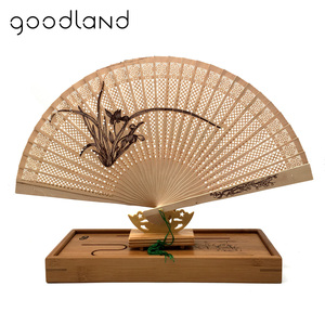 Amazon eBay Aliexpress wooden hand fan frame with gift box for wedding