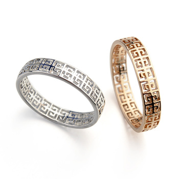 Classical Cheap Gold Ring Designs Korean Hollow Pattern Gold Ring