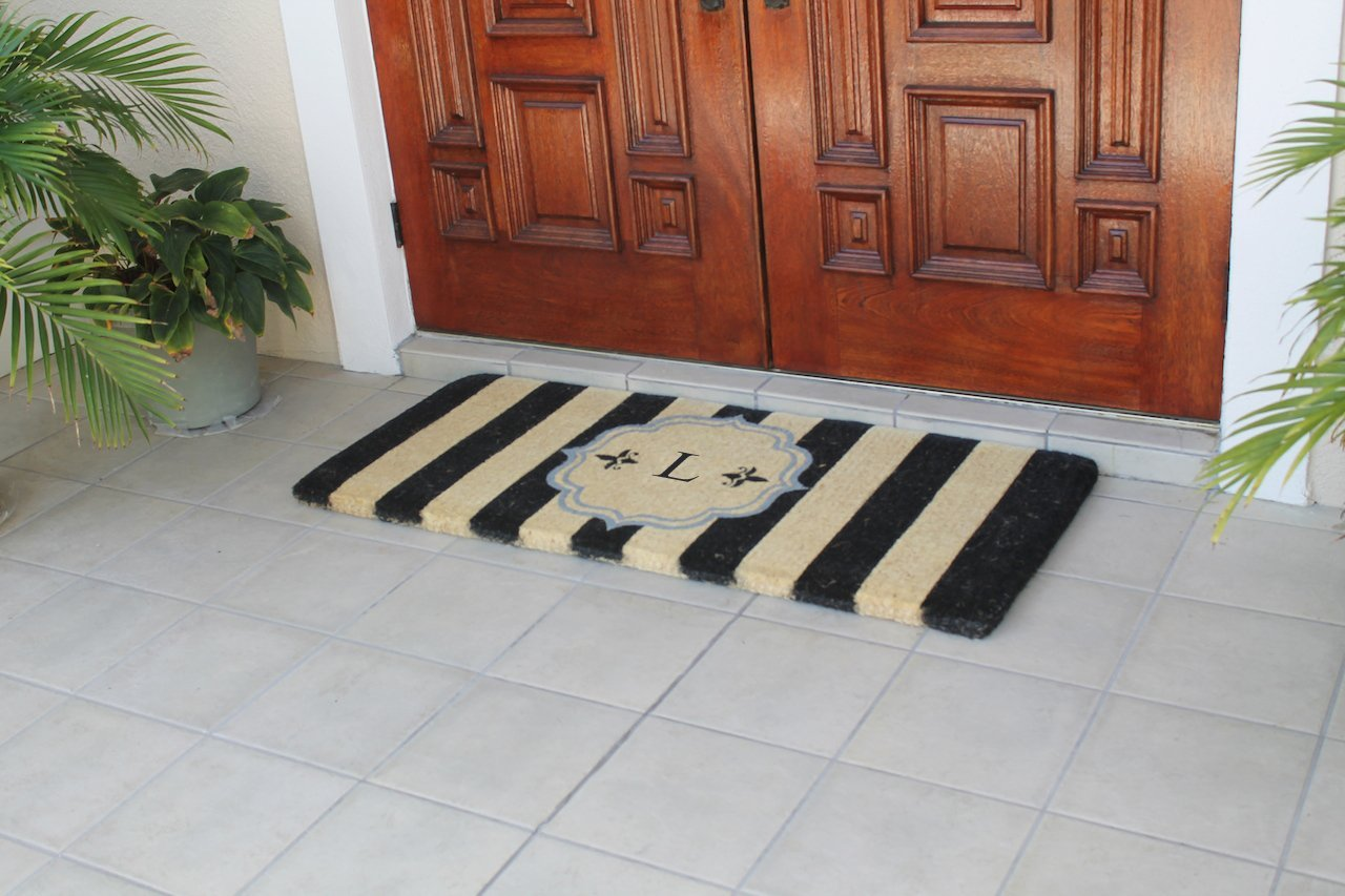 doormat personalized door doormats french out doors outdoor double monogram