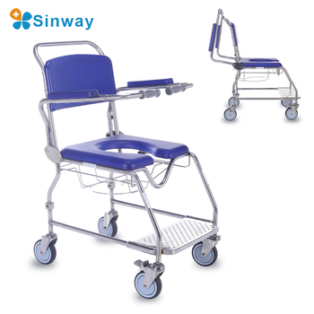 Stainless Steel Wheeled Rolling Shower Commode Toilet Chair for Sale Wheelchair is available for elderly people