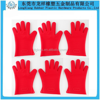 Heat Resistant Kitchen Bbq Oven Silicone Gloves Set With Five Fingers