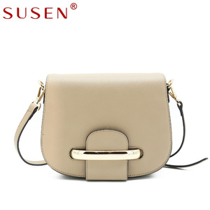 9174379cba2b SUSEN handbags women grainy leather crossbody sling bag with gold clasp crossbody  bag women