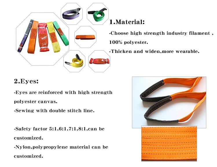 Sẵn sàng để tàu 5 tấn 8m cao căng thẳng 100% chất liệu polyester đôi mắt nâng vành đai vành đai vải sling
