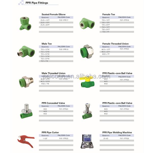 Material de corea accesorios tubería ppr catálogo