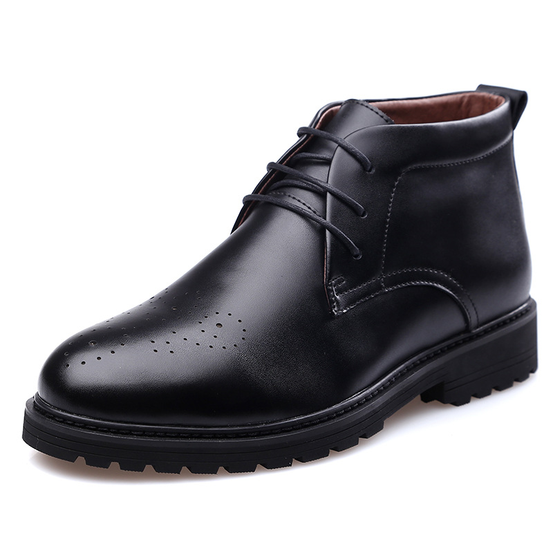 business casual winter warm man leather boots