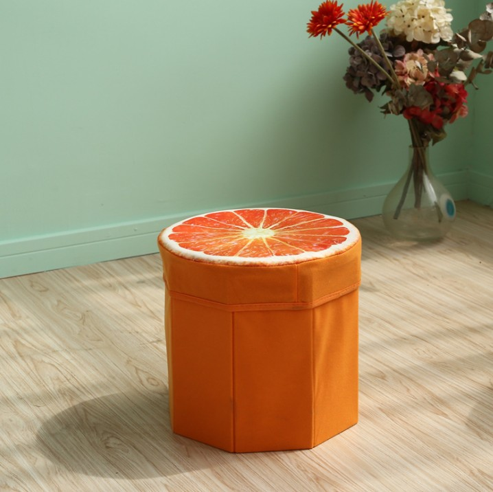 green fruit chair storage sitting stool with cover for kids