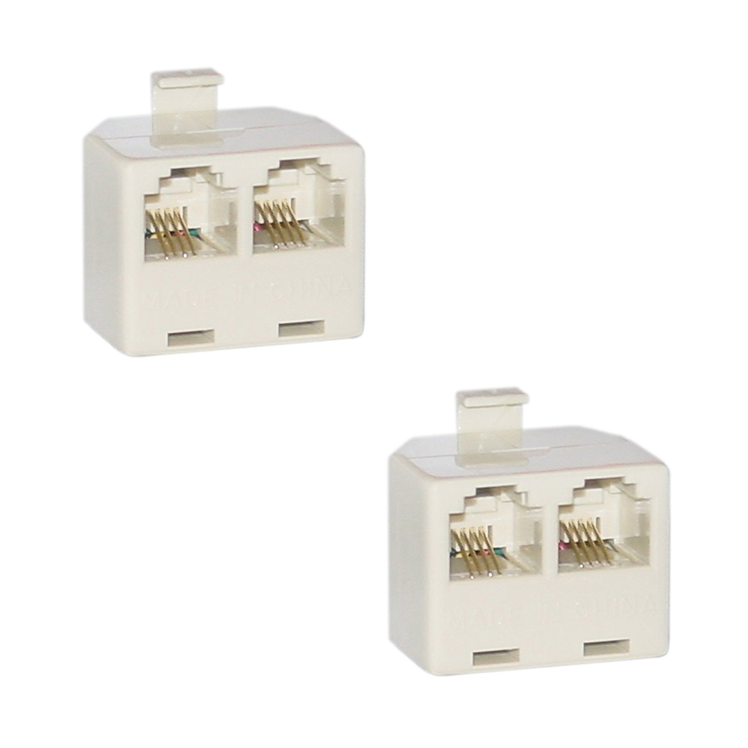 C&E Phone Splitter, RJ11 6P4C Male to 2 RJ11 6P4C Female Cable, 2-Pack (CNE26849)