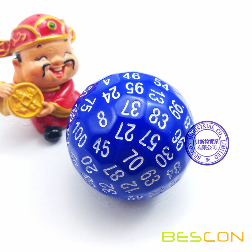 Bescon Polyhedral Dice 100 Sides Dice, D100 die, 100 Sided Cube, D100 Game Dice, 100-Sided Cube of Blue Color фото
