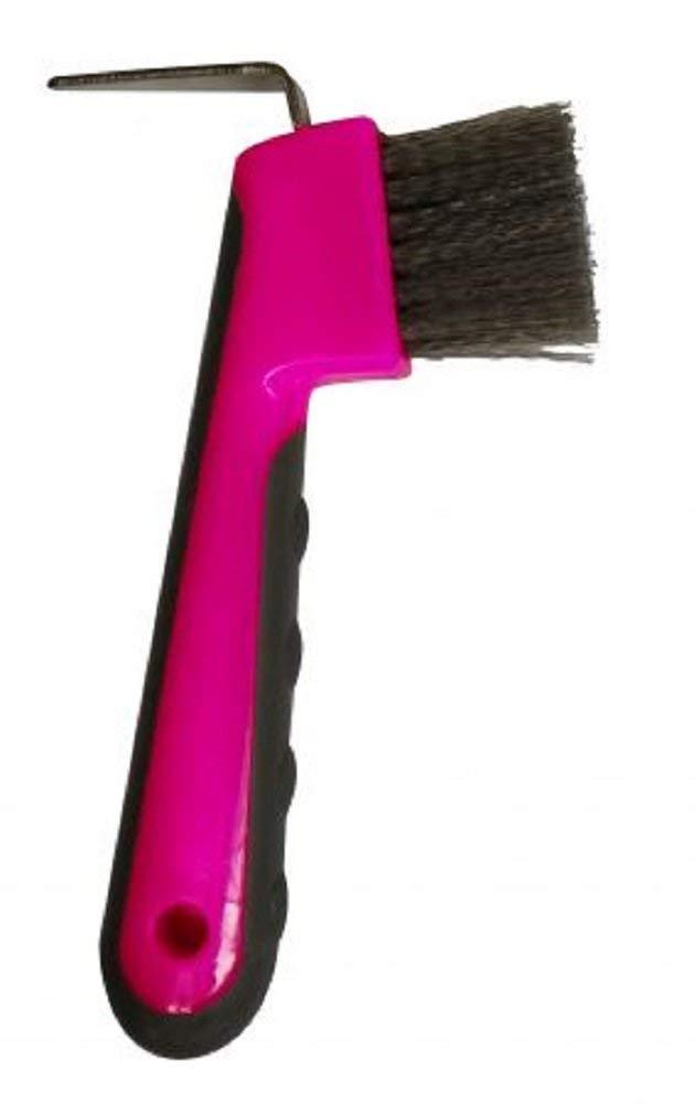 Showman PINK Rubber Dot Grip Handle Plastic Hoof Pick Metal Pick Black Bristles