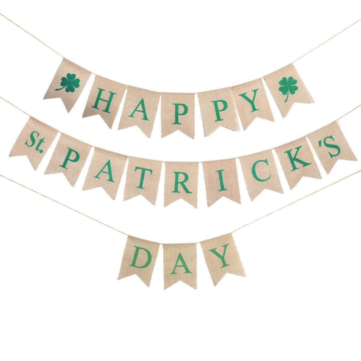 Happy St Patrick's Day Banner OULII Green Shamrock Banners Irish Four Leaf Clover Bunting Banner Garland St.Patrick Day Party Parade Decorations
