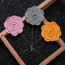 2017 Fashion Handmade Cloth Flower Shape Brooches For Wedding Party And Business Suit