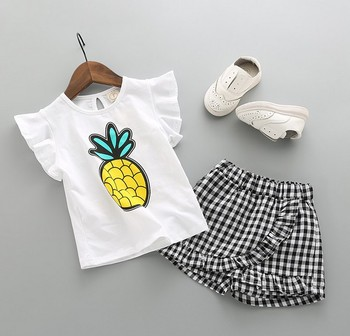 X84115B 2018 wholesale baby girl skirts sets summer 2pcs kids clothes set children boutique clothing
