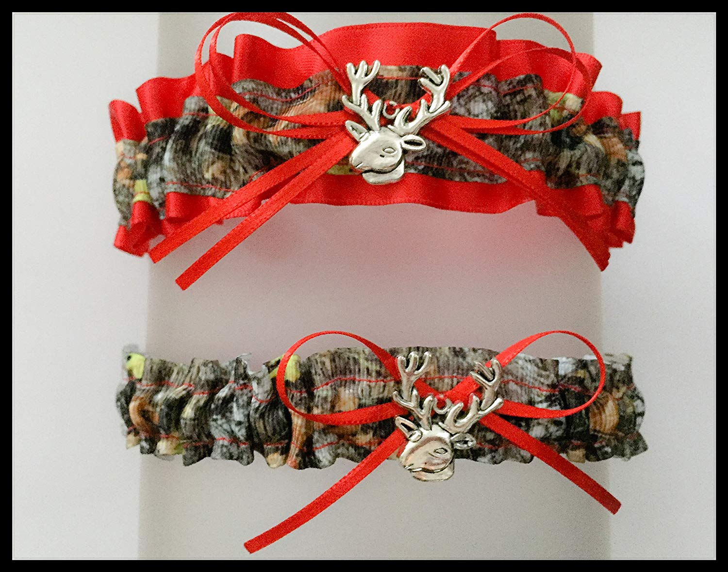 a2a82032995 Get Quotations · Sexy Mossy Oak Red Satin Keepsake Or Garter Set - Pick A  Charm