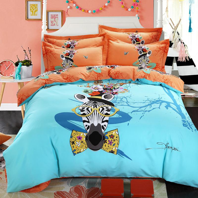 bleu et orange housse de couette imprim z bre couette ensembles adolescent et hommes et fille. Black Bedroom Furniture Sets. Home Design Ideas