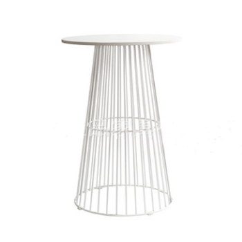 Stylish Design Metal Wire Wood Top Round Bar Table In White For Wedding
