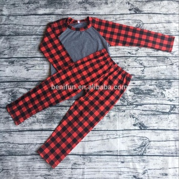 Wholesale kids christmas pajamas plaid cotton adults matching family pjs