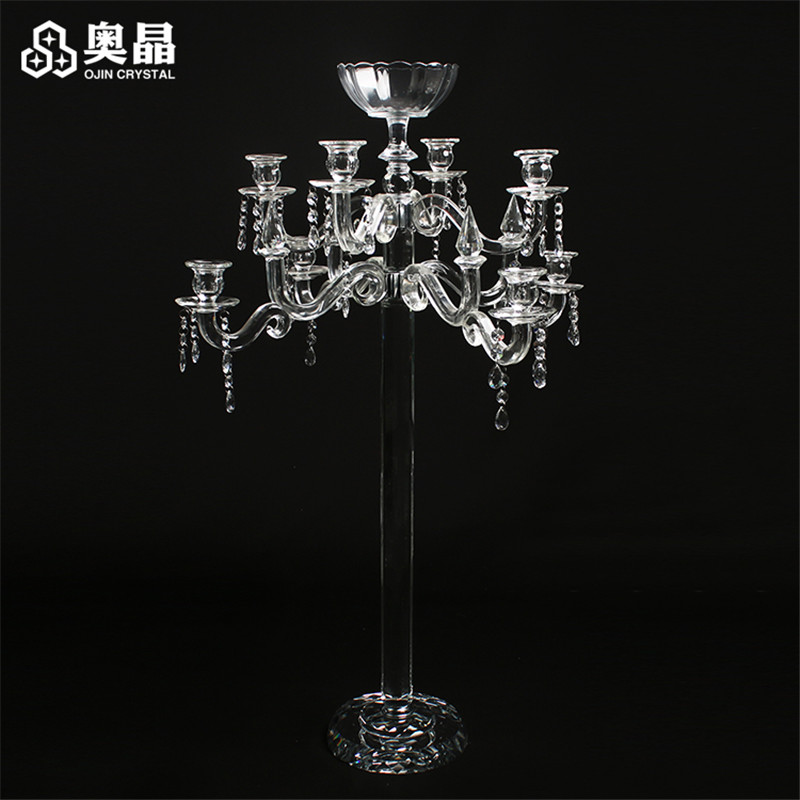 New Products 9 Arms Crystal Flower Stand Wedding Candelabra For Home Decoration