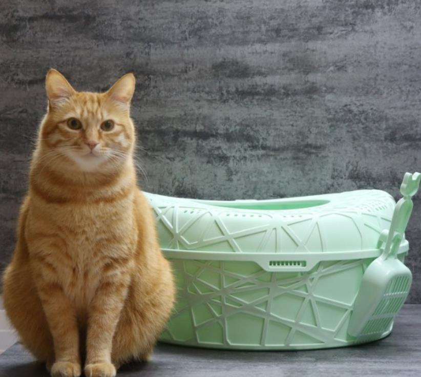 Factory price semi open style Chinese bird's nest shape large size cat litter box furniture