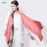 High Quality Allover Flower Printed Hand rolled Scarf Silk Crepe de Chine silk scarves