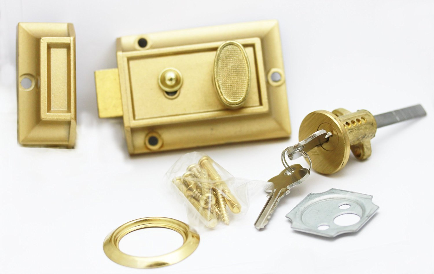 Defender Security U 9968 Night Latch and Locking Cylinder Home Improvement Polished Brass Contemporary Prime-Line Products