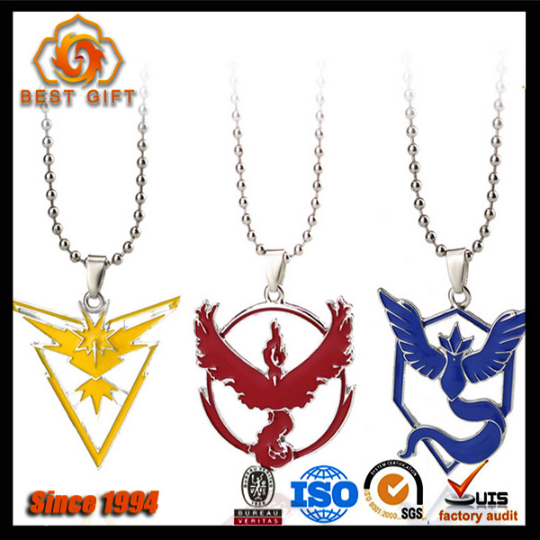 Custom logo colorful unique necklace zinc alloy metal with chain