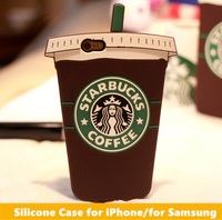 2016 3D Brand Coffee Cup Silicone Mobile Phone Case for iPhone 6 and for iPad