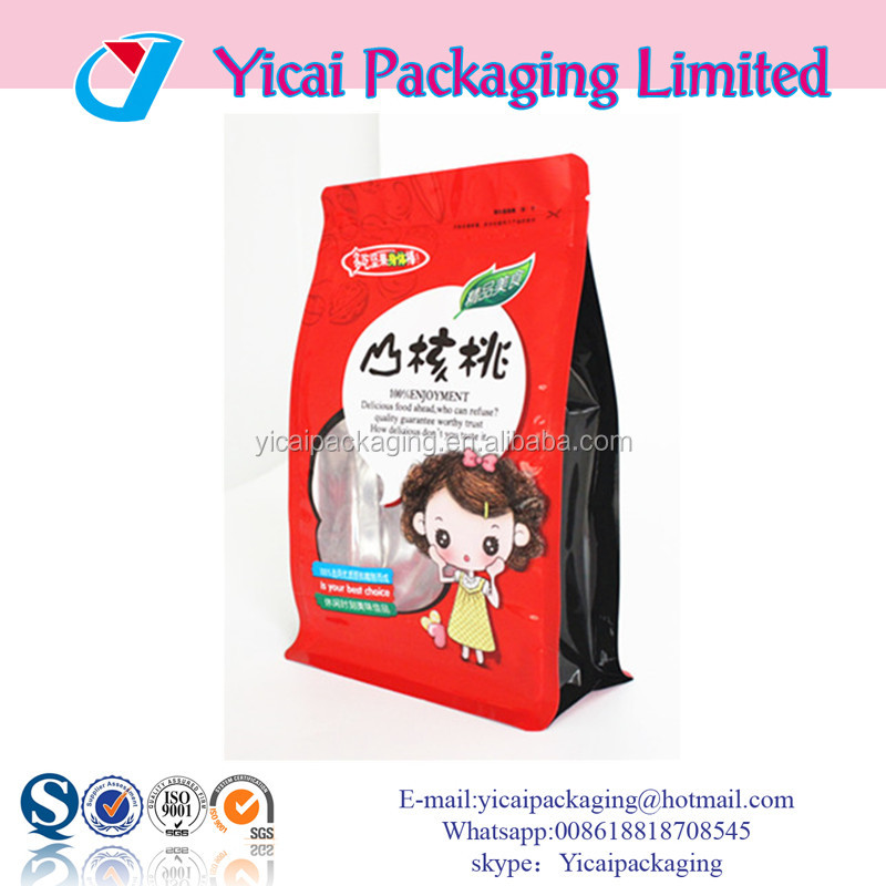 Wholesale Yicai 8 side heat seal zipper top stand up pouch flat bottom ziplock pouch for dates