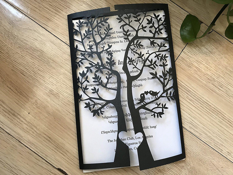 Black Tree Laser Cut Wedding Invitation,Wedding Invite,Lace Wedding Invite,Tree Invitation,Love Bird Wedding Invitation,50pcs