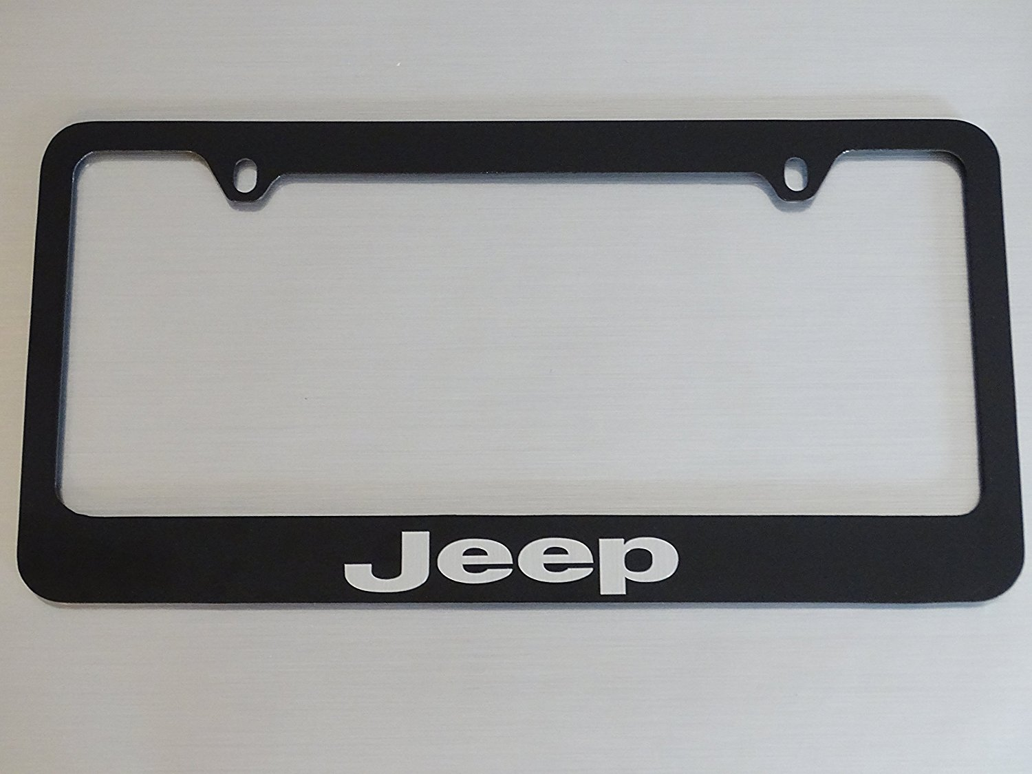 Jeep license plate frame, Glossy Black, Brushed aluminum text